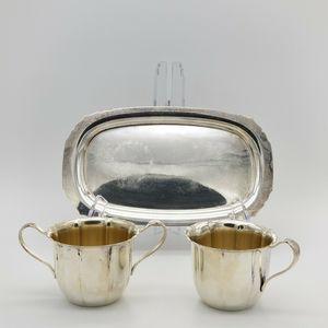 Wm Rogers Creamer & Sugar Bowl Set w Tray Silver